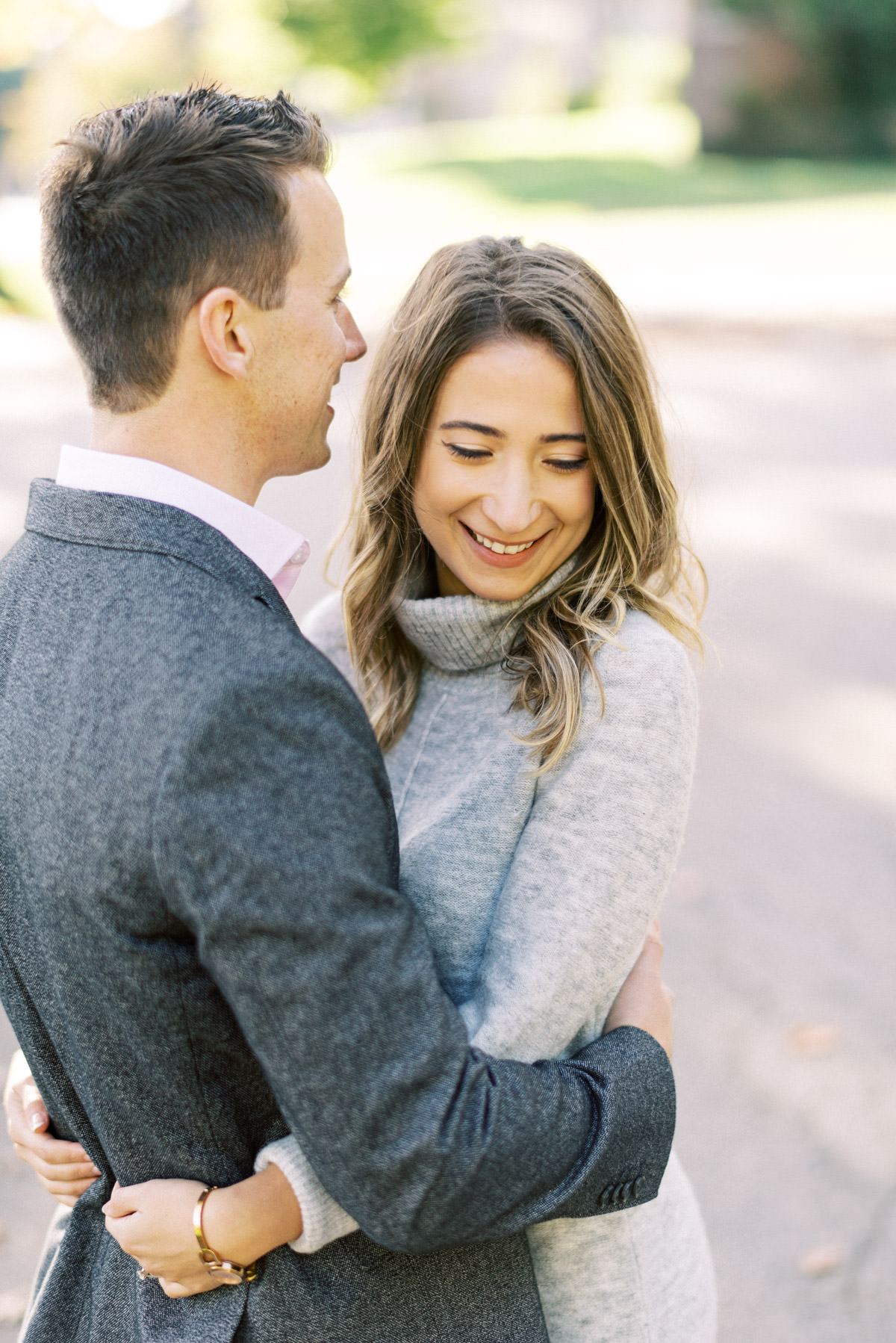 tender moment during engagement session