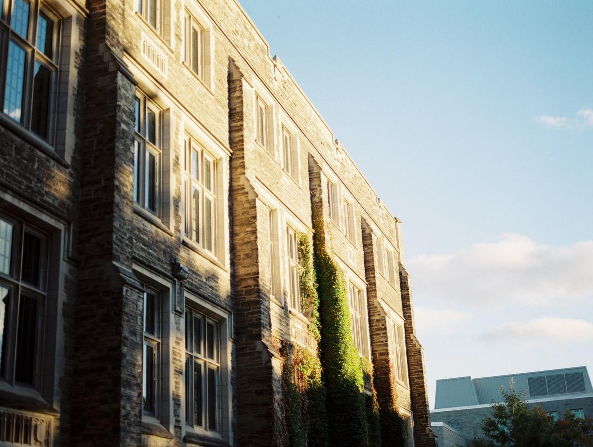 a building at mcmaster at sunset