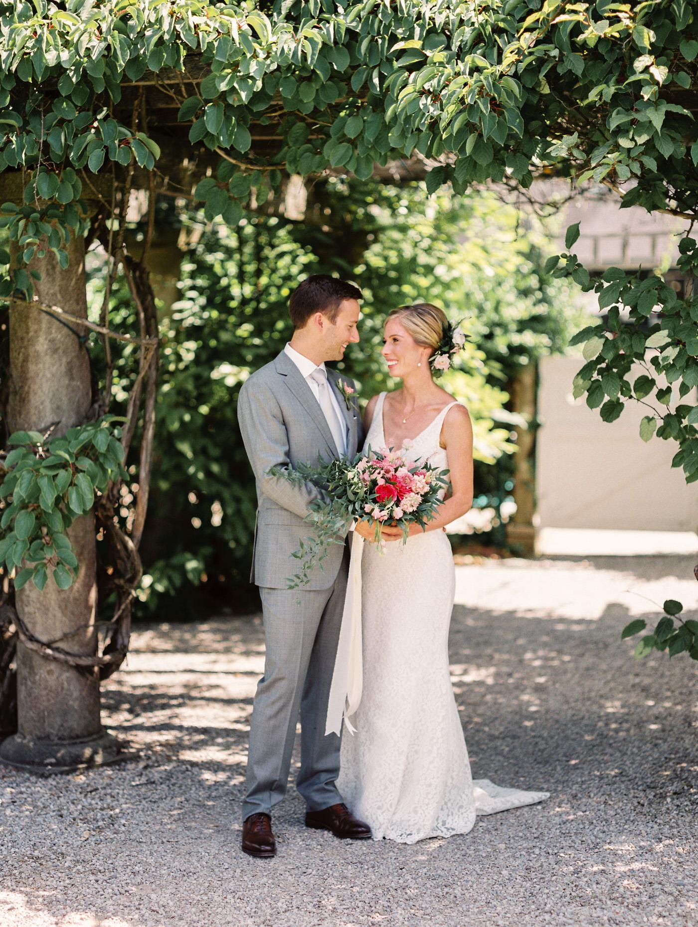 Wedding portrait in Langdon Hall garden