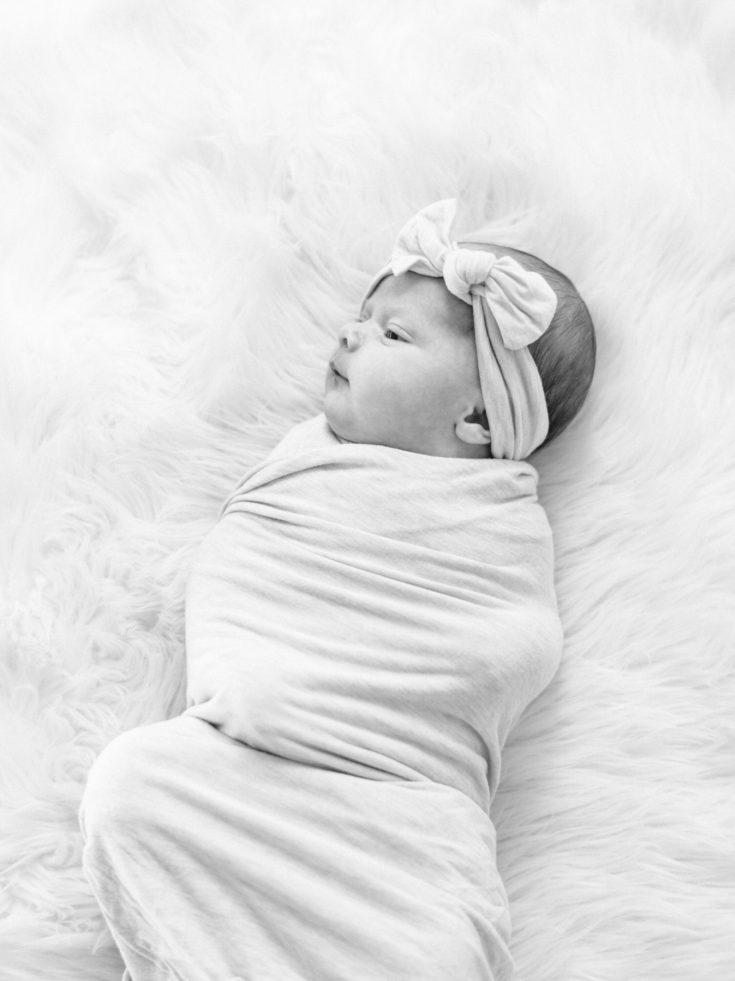 baby portrait, wrapped in swaddle