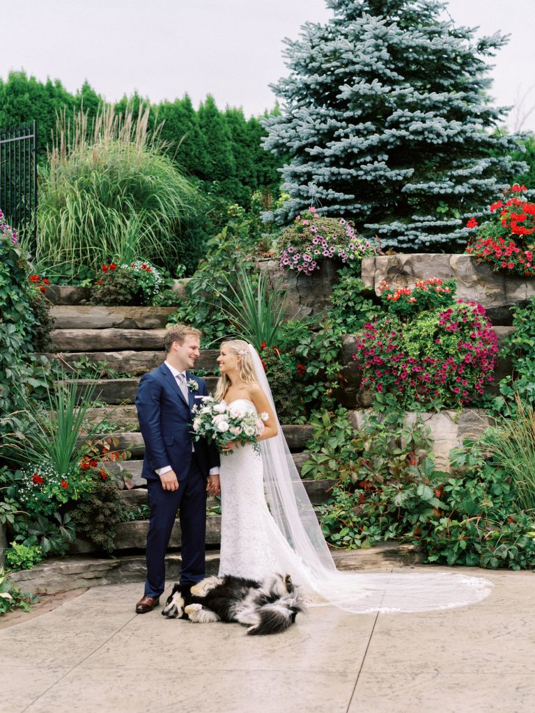 bride, groom, dog