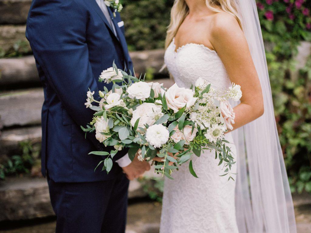 bride and groom portrait of flowers, georgetown ontario