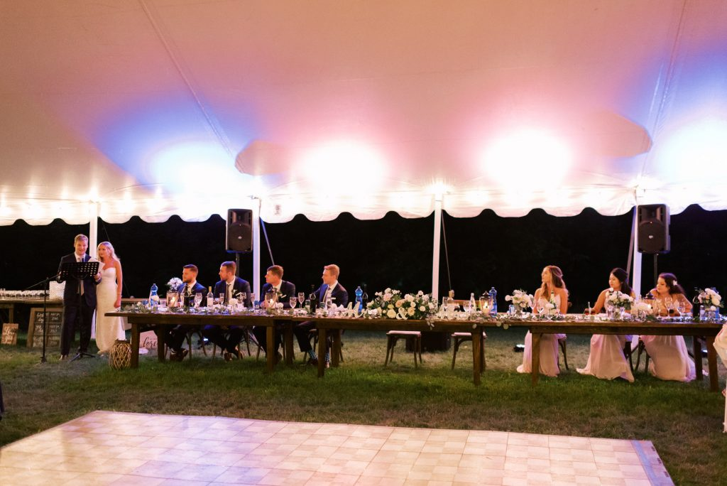 backyard tent wedding reception, in halton hills