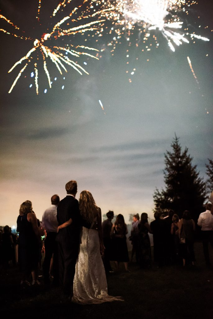 backyard wedding fireworks private estate