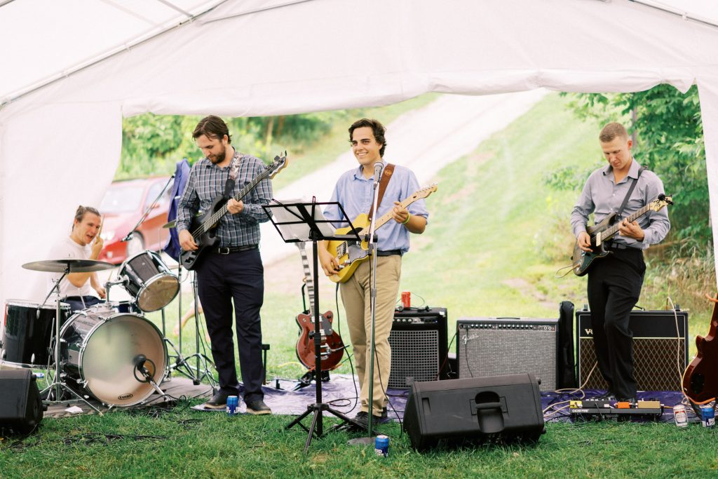 backyard tent wedding reception, halton hills, band playing