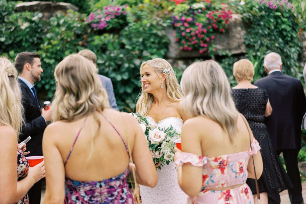 backyard tent wedding reception cocktail hour, halton hills