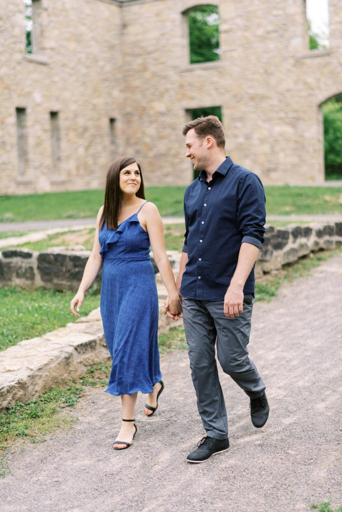 walking through the hermitage ruins, dundas valley engagement photography