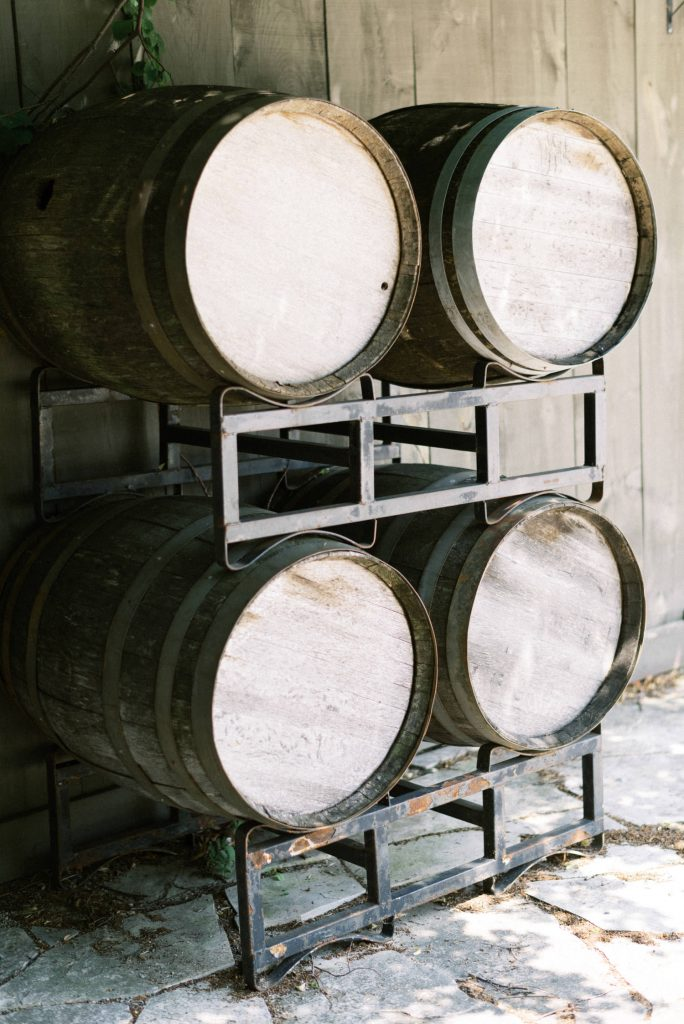 wine barrels at bellamere winery