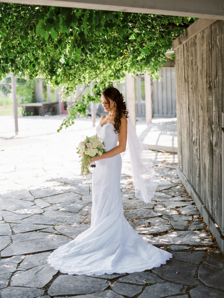 classic bridal portrait behind bellamere winery
