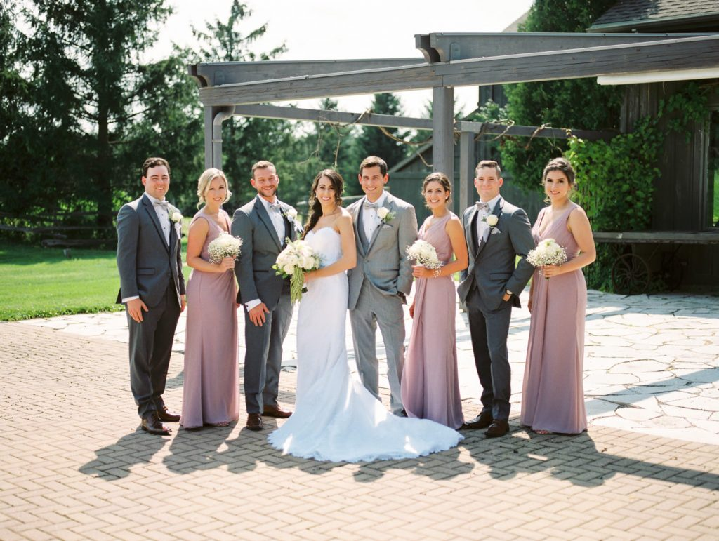 entire bridal party casual portrait