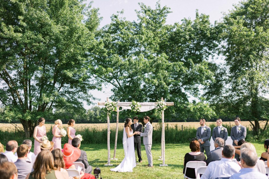 bellamere winery wedding ceremony in the field