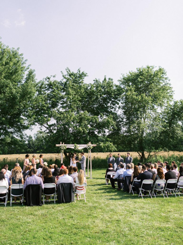 wide photograph of the ceremony at bellamere