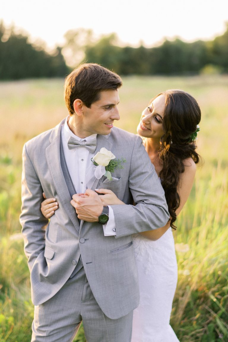 bride and groom portrait in the golden sunset light