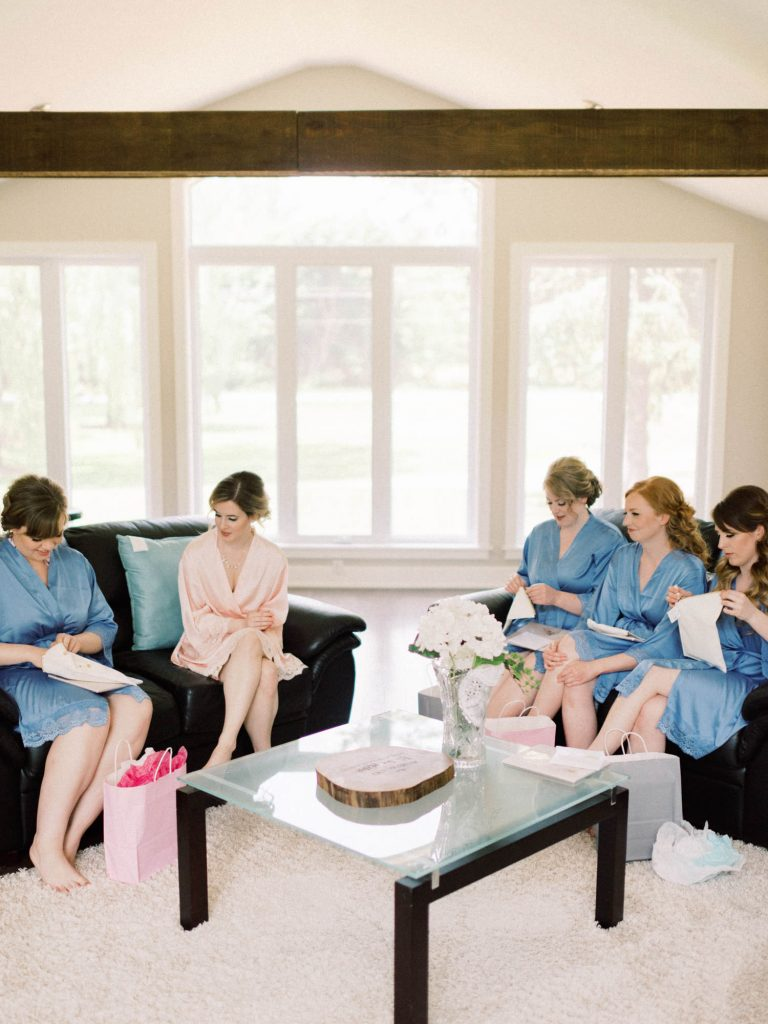 bridal party sitting in fernwood