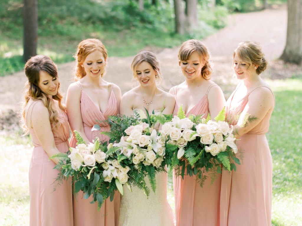casual photo of bridesmaids flowers