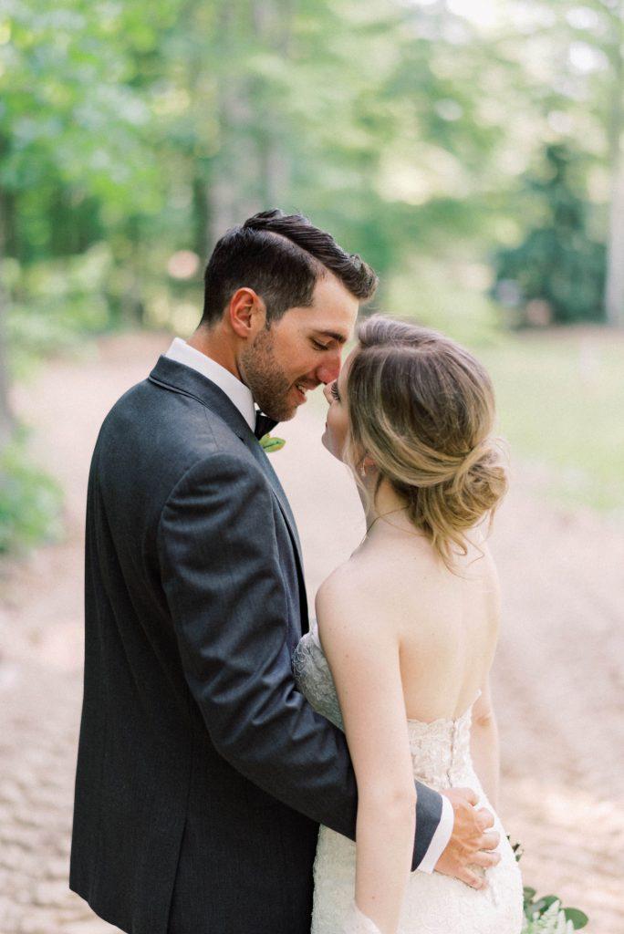 wedding portrait with bride and groom, romantic