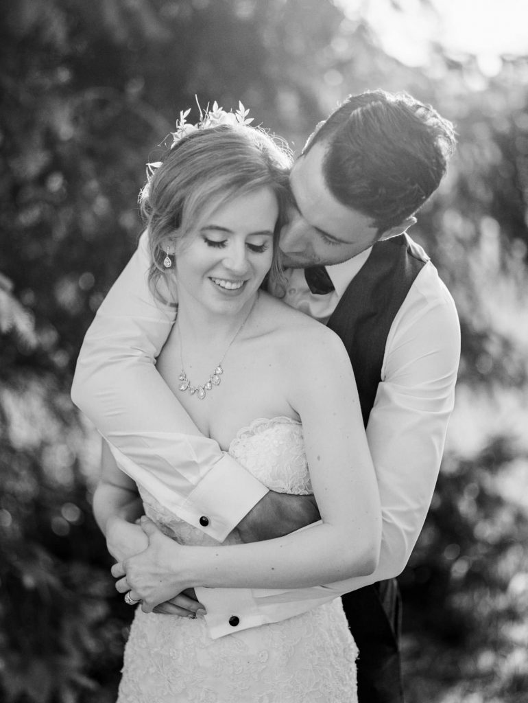 black and white portrait of bride and groom at bellamere