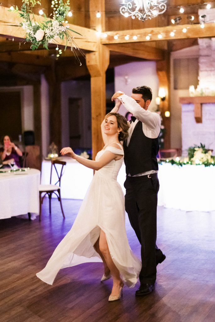 bride and groom first dance at bellamere continues