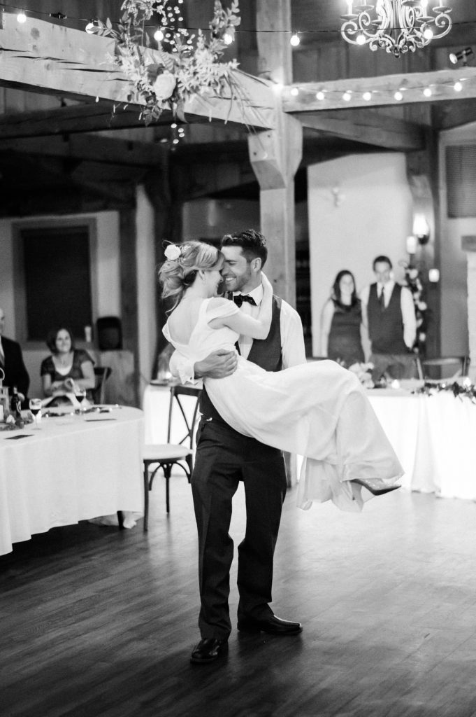 bride and groom first dance all smiles