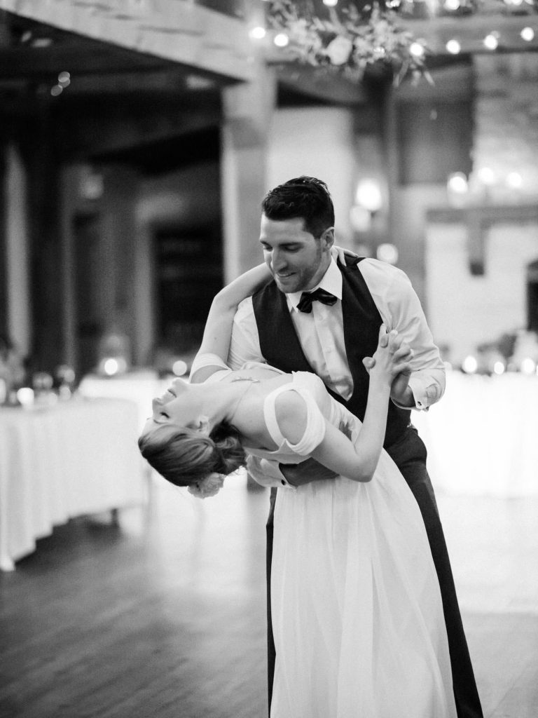 bride and groom first dance at bellamere dip